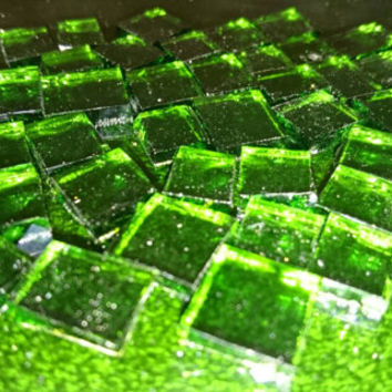 "Mosaic tiles - Emerald Green Stained Glass - hand cut square - 1/2"" / 1cm"