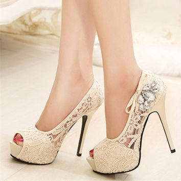 Women Fashion Hollow Lace Shallow Mouth Exposed Toe Platform Heels Shoes