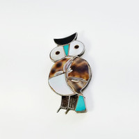 Mid Century Owl Brooch - Mother of Pearl Owl - Abalone Owl Brooch - Gemstone Owl Brooch