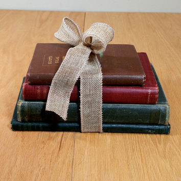 Antique Book Collection Vintage Book Bundle Old Books 4 Decorative Books Gift for Teacher Book Lover Shabby & Chic Office Decor