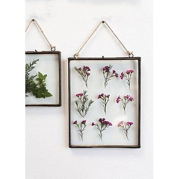 """Decorative Hanging Metal Wall Frame with Glass Inserts - 10.5"""" Tall x 8"""" Wide"""