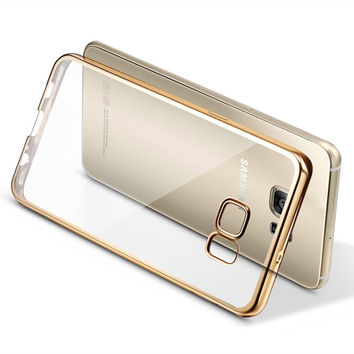 For Samsung Galaxy S7 Edge Case Coque ,Plating TPU Silicone Transparent Back Cover Capa Case For Samsung Galaxy S7 S7 Edge Cover