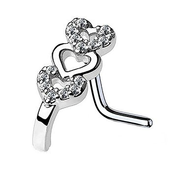 BodyJ4You 20G (0.8mm) Nose Ring L-Shape Stud CZ Paved Heart Surgical Steel Silvertone Nostril Jewelry