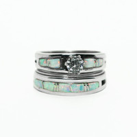 Opal Bridal Ring Set