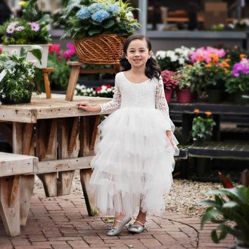 Blanche Gown 3/4 Sleeve White Scalloped Lace White Tier Tulle Tutu Dress - Toddler & Girls