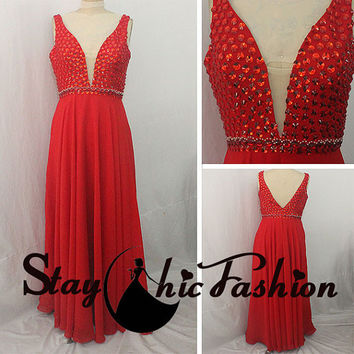 Sexy Red Long Rhinestones Beaded Top Deep V Neck Low Back 2015 Prom Evening Dresses