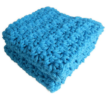Crochet Dishcloth, Washcloth Set of 2 Cotton Dish Rags, Blue. Dish Cloth, Wash Cloth