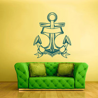 Wall Decal Vinyl Sticker Decals Anchor Sea Ocean Ribbon Ship Boat z1673