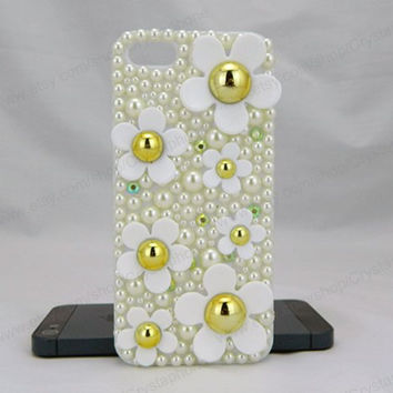 Chrysanthemum Crystal Pearl  bling iphone 6 case iphone 6 case iphone 5S 5c iphone 4 case samsung galaxy s4 case note3 s3 case bling crystal