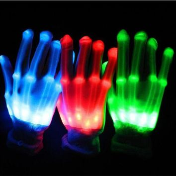 DCCKH6B 2017 Sale Costume Leds 1pairs Unisex Lighting Led Gloves Flash Toys Party Supplies Dancing Luminous Glowing Bone Skeleton Light