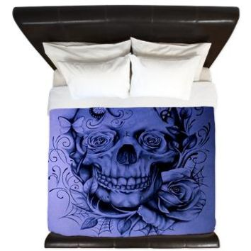 Skull Butterflies King Duvet> Art> Tropical Design Studio