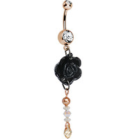 Handcrafted Rose Gold Sexy Black Rose Dangle Belly Ring | Body Candy Body Jewelry