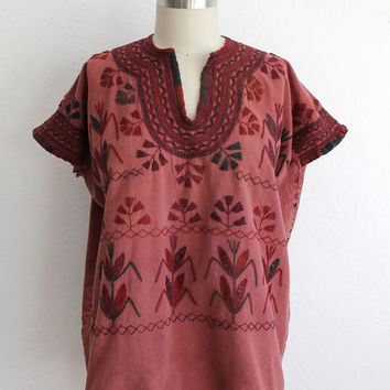 Vintage 70s Indian Embroidered Natural Cotton Tunic // Women's Boho Summer Top