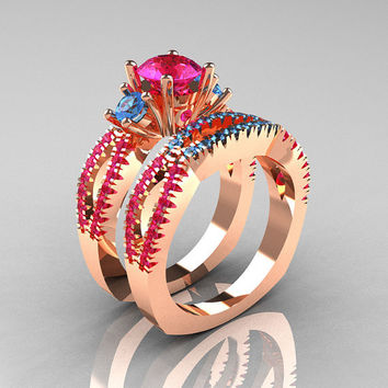 Modern French 14K Rose Gold Three Stone Pink Sapphire Blue Topaz Engagement Ring Wedding Band Set R140S-14RGBTPS