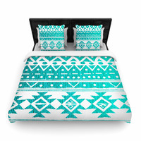 "Nika Martinez ""Aquamarine Tribal"" Teal Blue Woven Duvet Cover"