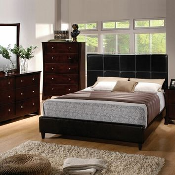 5 pc Ridge Collection Black leather like vinyl queen upholstered bed set with accented stitching