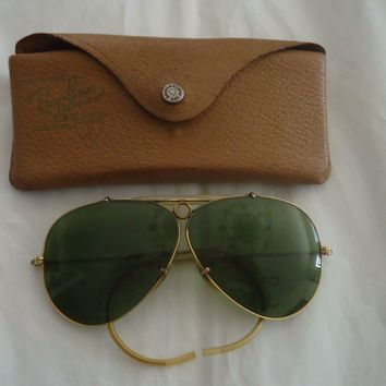 1950's-VINTAGE RAY BAN B&L 1/10 12K GF BULLET HOLE SHOOTER AVIATORS SUNGLASSES
