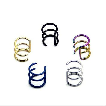 ac ICIKO2Q Stainless Steel Nose Rings Studs Fake Septum Piercing Gold/Silver/Black Nose Hoop Fake Nose Ear Rings&Studs Body Jewelry