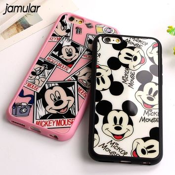 JAMULAR Silicone Soft Phone Case for iphone X 7 8 6 6s Plus 5S SE Cases Mickey Mouse Mirror Cover For iphone 6 6s 7 8 Plus Case