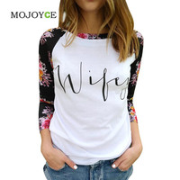 Women Casual Loose Long Sleeve Tee Shirt Floral Printed T-Shirt Blusa Women Tops Letter Crop Tops Tees  SN9