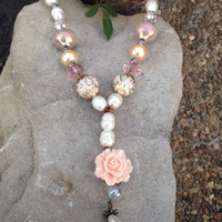 Long Statement Necklace, Freshwater Pearl, Pink, Flower, Beaded Necklace, Long Necklace, Statement Necklace, Statement, Leather Cord