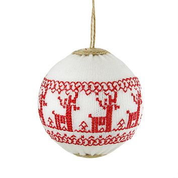 "4"" Alpine Chic White with Red Deer Nordic Design Christmas Ball Ornament"