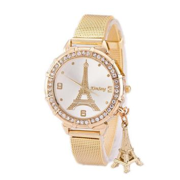 Tower Pendant Gold Watches Women Clock Discount Top Brand Luxury Stainless Steel Ladies Watch Montre Femme Crystal Bracelet