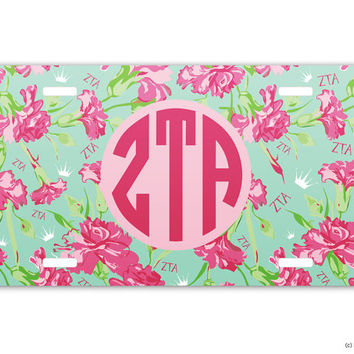 ZTA Zeta Tau Alpha Carnations Sorority License Plate