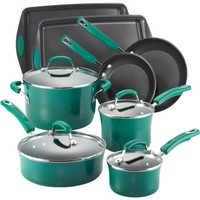 Rachael Ray Porcelain Enamel II Nonstick 12-Piece Cookware Set, Green Gradient