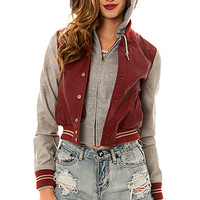 The Varsity Lover Jacket in Burgundy and Grey