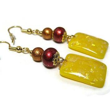Drop Dangle Earrings Orange Red Yellow Sparkle Glitter Shimmer Rectangle Resin Gold Plated Hypoallergenic Spring Summer Fashion Jewelry