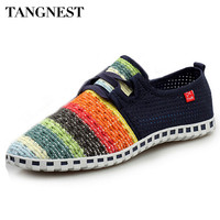 Tangnest Summer Breathable Mesh Shoes Men Beach Couple Shoes Rainbow Color Comfort Slip On Flats For Man Size 35-44 XMF263