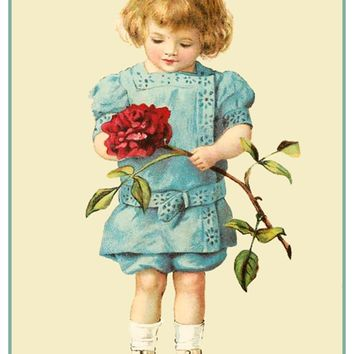 Vintage Valentine Boy with Single Rose Valentines  Counted Cross Stitch or Counted Needlepoint Pattern