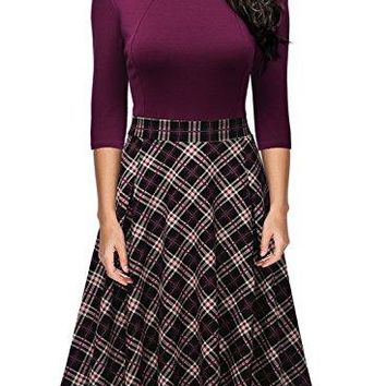 Missmay Women's Vintage Retro Plaid Patchwork A-line Cocktail Party Dress