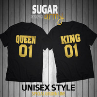 King 01 Queen 01 shirt, GOLDEN TEXT, king queen shirts, king queen couple shirts, love couple set, King 01 Queen shirts, Unisex style