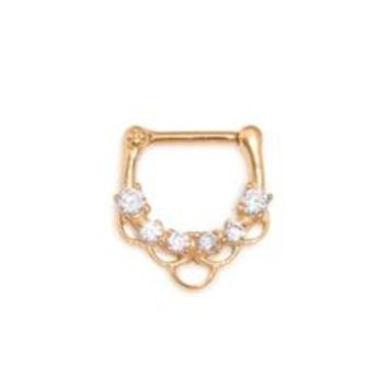 Painful Pleasures UR501 16g PVD Gold Coated Septum Clicker with Crystals and Fish Scale Pattern - Price Per 1 - Sears