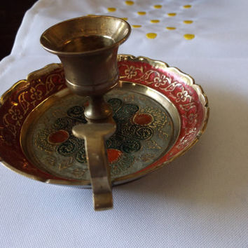 Vintage Brass Candlestick Holder with Handle Ruffle Edges and Red & Blue Painted Design