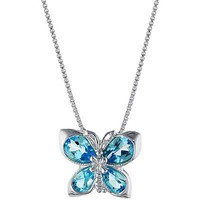 "Sterling Silver Blue Topaz Butterfly Pendant with 18"" Box Chain"