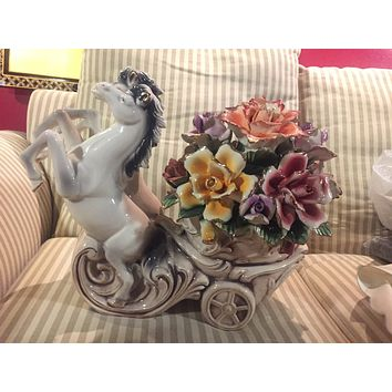 Porcelain sculpture Horses carriage with flowers
