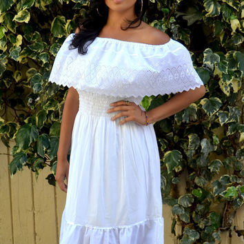 White Mexican Off Shoulder Dress Dress Tunic Eyelet Trim