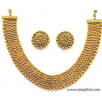 Multi stranded Gold ball bead choker Necklace and Earring set