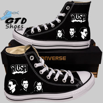 Hand Painted Converse Hi Sneakers. Rush Music Band. Alex, Neil, Geddy.Handpainted shoes.