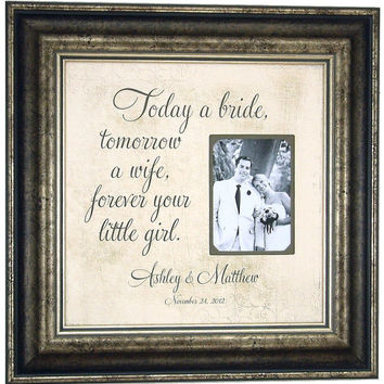Wedding Frame, Mr Mrs, Framed Photo Mat, TODAY A BRIDE, Mother, Father of the Bride, Gift for Parents, Thank You Gift, 16 X 16