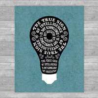 Printable Imagination Quote, light bulb inspirational print, black/white/ blue, home decor, typographic poster, wall accent, Albert Einstein