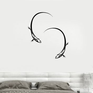 Wall Decal Animals Lizards Yin Yan Couple Vinyl Sticker Unique Gift (ed723)