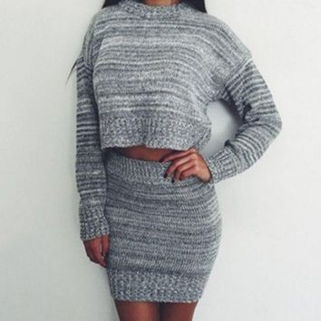 DCCK6HW Simple Fashion Knit Long Sleeve Crop Tops Sweater Pack Hip Bodycon Short Skirt Set Two-Piece