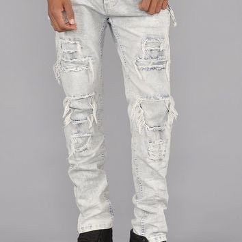 Bleach Washed Distressed Zipper Jeans