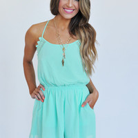 Mint Pleated Back Romper