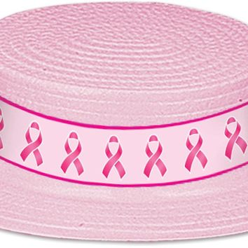 Breast Cancer Awareness Plastic Skimmer with Pink Ribbon Band - 24 Units