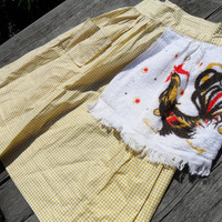 Vintage Mid Century Yellow Gingham Apron with Rooster Terry Cloth Towel Attached